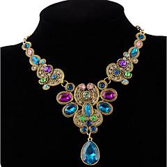 お買い得  ネックレス-女性用 クリスタル ステートメントネックレス  -  ぜいたく, 多色 ブラック, 虹色 ネックレス ジュエリー 用途 パーティー