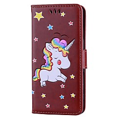 Недорогие Чехлы и кейсы для Xiaomi-Кейс для Назначение Xiaomi Redmi Note 4 Бумажник для карт Кошелек со стендом Флип Рельефный Чехол единорогом Твердый Кожа PU для Xiaomi