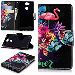 Недорогие Чехлы и кейсы для Sony-Кейс для Назначение Sony Xperia XA2 / Xperia L2 Кошелек / Бумажник для карт / со стендом Чехол Фламинго Твердый Кожа PU для Xperia XA2 /