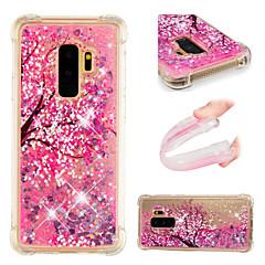 halpa Galaxy S6 kotelot / kuoret-Etui Käyttötarkoitus Samsung Galaxy S9 / S9 Plus Iskunkestävä / Virtaava neste / Kuvio Takakuori Kukka / Kimmeltävä Pehmeä TPU varten S9