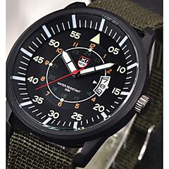 お買い得  メンズ腕時計-男性用 リストウォッチ 中国 カレンダー / 夜光計 / 光る ナイロン バンド カジュアル ブラック / ブラウン / パープル