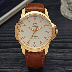 preiswerte Herrenuhren-YAZOLE Herrn Quartz Armbanduhr Chinesisch Wasserdicht Leder Band Minimalistisch Schwarz Braun