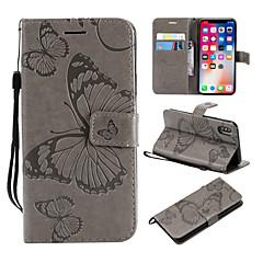 Недорогие Кейсы для iPhone X-Кейс для Назначение Apple iPhone X / iPhone 8 Plus Кошелек / Бумажник для карт / со стендом Чехол Бабочка Твердый Кожа PU для iPhone X / iPhone 8 Pluss / iPhone 8