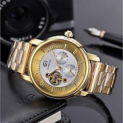 お買い得  メンズ腕時計-男性用 機械式時計 シルバー 50 m 透かし加工 大きめ文字盤 ハンズ ぜいたく スケルトン - ブラック / ホワイト ホワイト / ゴールド ゴールド / シルバー / ブラック / ステンレス
