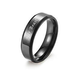 お買い得  指輪-カップルリング / バンドリング  -  円形 シンプル / カジュアル ブラック / シルバー リング 用途 贈り物 / 日常 / ストリート