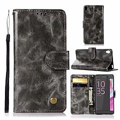 Недорогие Чехлы и кейсы для Sony-Кейс для Назначение Sony Xperia L1 Кошелек / Бумажник для карт / со стендом Чехол Однотонный Твердый Кожа PU для Sony Xperia L1