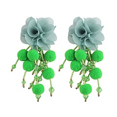 preiswerte Ohrringe-Quaste / Geometrisch / Lang Tropfen-Ohrringe - Blumen / Botanik, Blume Süß, Modisch Rot / Grün / Hellblau Für Party / Arbeit