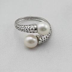 お買い得  指輪-女性用 バンドリング ナックリリング  -  真珠, S925スターリングシルバー レディース, クラシック, ファッション, エレガント ジュエリー シルバー 用途 贈り物 日常 8