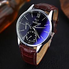 お買い得  メンズ腕時計-YAZOLE 男性用 リストウォッチ クォーツ 30 m 耐水 レザー バンド ハンズ ミニマリスト ブラック / ブラウン - Black / Brown ブラック / ホワイト ホワイト / ベージュ 1年間 電池寿命