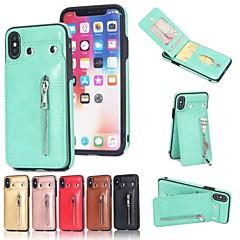Недорогие Кейсы для iPhone 7-Кейс для Назначение Apple iPhone 8 / iPhone 8 Plus Бумажник для карт / Кошелек / со стендом Кейс на заднюю панель Однотонный Твердый Кожа