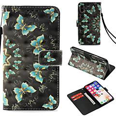Недорогие Кейсы для iPhone X-Кейс для Назначение Apple iPhone X / iPhone 8 Plus Бумажник для карт / Кошелек / со стендом Чехол Бабочка Твердый Кожа PU для iPhone X /