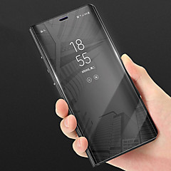 billige Etuier/deksler til Huawei-Etui Til Huawei P smart med stativ Speil Heldekkende etui Ensfarget Hard PU Leather til P smart