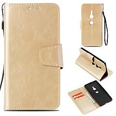 Недорогие Чехлы и кейсы для Sony-Кейс для Назначение Sony Xperia XZ2 Xperia L2 Бумажник для карт Кошелек Магнитный Чехол Однотонный Твердый Искусственная кожа для Xperia
