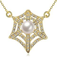 preiswerte Halsketten-Damen Kubikzirkonia Anhängerketten  -  Perle, vergoldet, Süßwasserperle Modisch Gold, Weiß, Rose Rot 50 cm Modische Halsketten Für Geschenk, Alltag