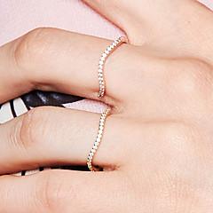 preiswerte Ringe-Damen Kubikzirkonia Öffne den Ring / Ewigkeitsring - S925 Sterling Silber Welle Zierlich, Grundlegend, Süß 8 Rotgold Für Alltag / Ausgehen