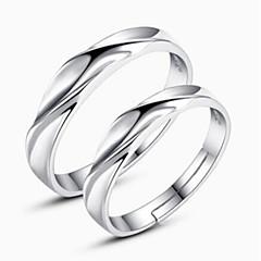 お買い得  指輪-カップル用 カップルリング  -  純銀製 ツイストサークル クラシック, ファッション 調整可 シルバー 用途 日常