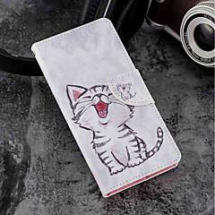 Недорогие Чехлы и кейсы для Sony-Кейс для Назначение Sony Xperia XZ2 / Xperia XZ2 Compact Бумажник для карт / Кошелек / со стендом Чехол Кот Твердый Кожа PU для Xperia