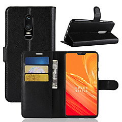 お買い得  その他のケース-ケース 用途 OnePlus OnePlus 6 / OnePlus 5T カードホルダー / ウォレット / フリップ フルボディーケース ソリッド ハード PUレザー のために OnePlus 6 / One Plus 5 / OnePlus 5T