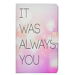 Недорогие Чехлы и кейсы для Galaxy Tab 3 Lite-Кейс для Назначение SSamsung Galaxy Tab 3 Lite Бумажник для карт / Защита от удара / со стендом Кейс на заднюю панель Слова / выражения Твердый Кожа PU для Tab 3 Lite