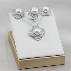 お買い得  ジュエリーセット-女性用 真珠 淡水パール ジュエリーセット  -  真珠, S925スターリングシルバー, 淡水パール フラワー レディース, ぜいたく, クラシック, エレガント 含める ブライダルジュエリーセット シルバー 用途 パーティー 贈り物