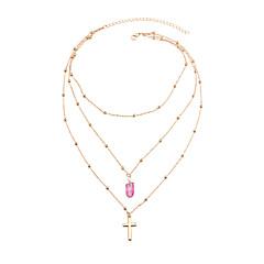 preiswerte Halsketten-Kubikzirkonia Anhängerketten / Layered Ketten - Natur Blau, Rosa, Leicht Grün 50 cm Modische Halsketten Für Geschenk, Strasse