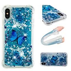baratos Capinhas para iPhone5S / SE-Capinha Para Apple iPhone X / iPhone 6 Antichoque / Liquido Flutuante / Glitter Brilhante Capa traseira Borboleta Macia TPU para iPhone X