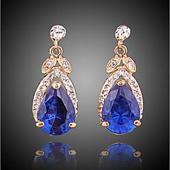 abordables Pendientes-Mujer Zirconia Cúbica Pendientes cortos Pendients de aro - Chapado en Oro Simple, Moda Azul Real Para Noche Oficina y carrera