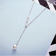 preiswerte Halsketten-Damen Perle / Süßwasserperle Anhängerketten - Perle, Edelstahl, S925 Sterling Silber Modisch Weiß, Rose Rot 45+5 cm Modische Halsketten Für Geschenk, Alltag