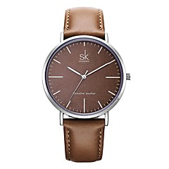 お買い得  レディース腕時計-SK 女性用 リストウォッチ 日本産 日本産クォーツ 30 m 耐水 耐衝撃性 本革 バンド ハンズ エレガント ブラウン - Brown 2年 電池寿命