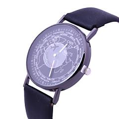 preiswerte Damenuhren-Damen Armbanduhr Armbanduhren für den Alltag / lieblich PU Band Modisch / Weltkarte Muster Schwarz / Weiß