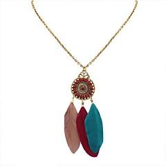 preiswerte Halsketten-Damen Lang Anhängerketten  -  Harz Feder Stilvoll, Ethnisch Regenbogen, Rot, Leicht Grün 70 cm Modische Halsketten 1pc Für Party / Abend, Schultaschen