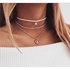 preiswerte Halsketten-Damen Mehrschichtig Layered Ketten - Künstliche Perle, Strass Herz Europäisch, Modisch Gold 36 cm Modische Halsketten 1pc Für Alltag