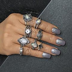 preiswerte Ringe-Damen Mehrschichtig Ring-Set - Blattform Retro, Europäisch, Modisch 7 Silber Für Alltag