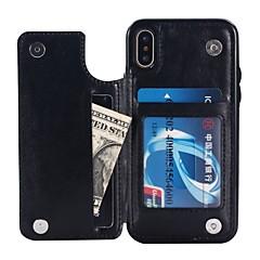 Недорогие Кейсы для iPhone X-Кейс для Назначение Apple iPhone X / iPhone 8 Кошелек / Бумажник для карт / со стендом Кейс на заднюю панель Однотонный Твердый Кожа PU
