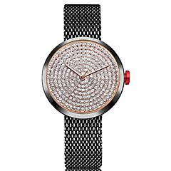 preiswerte Damenuhren-Damen Armbanduhr Chinesisch Chronograph / lieblich / Imitation Diamant Edelstahl Band Armreif / Minimalistisch Schwarz / Silber / Gold