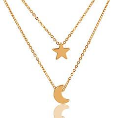 preiswerte Halsketten-Damen Ketten / Layered Ketten  -  vergoldet MOON, Stern Einfach, Klassisch, Modisch Gold 40 cm Modische Halsketten 2pcs Für Alltag, Geburtstag