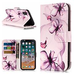 Недорогие Кейсы для iPhone 7 Plus-Кейс для Назначение Apple iPhone X / iPhone 8 Plus Кошелек / Бумажник для карт / со стендом Чехол Цветы Твердый Кожа PU для iPhone X / iPhone 8 Pluss / iPhone 8