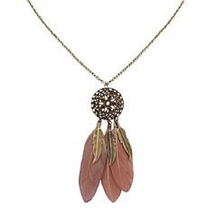 preiswerte Halsketten-Damen Lang Anhängerketten - Feder Stilvoll, Retro, Ethnisch Blau, Rosa, Leicht Grün 70 cm Modische Halsketten 1pc Für Alltag, Verabredung