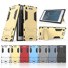Недорогие Чехлы и кейсы для Sony-Кейс для Назначение Sony Xperia XZ1 со стендом Кейс на заднюю панель Однотонный Твердый ПК для Sony Xperia XZ1