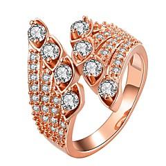 preiswerte Ringe-Damen Synthetischer Diamant Bandring - vergoldet nette Art 7 / 8 Gold / Rotgold Für Alltag / Verabredung