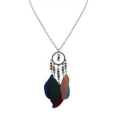 preiswerte Halsketten-Damen Lang Anhängerketten - Feder damas, Stilvoll, Retro, Ethnisch Regenbogen, Blau, Leicht Grün 70 cm Modische Halsketten Schmuck 1pc Für Alltag, Verabredung
