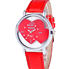 preiswerte Damenuhren-Damen Armbanduhr Quartz Armbanduhren für den Alltag PU Band Analog Heart Shape Modisch Rot / Rosa - Rot Rosa