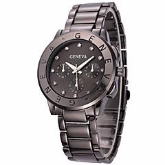 preiswerte Damenuhren-Damen Armbanduhr Chinesisch Chronograph / Imitation Diamant / Großes Ziffernblatt Edelstahl Band Luxus / Armreif Schwarz / Silber / Gold