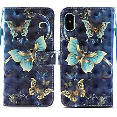 Недорогие Кейсы для iPhone-Кейс для Назначение Apple iPhone X / iPhone 8 Plus Кошелек / Бумажник для карт / со стендом Чехол Бабочка Твердый Кожа PU для iPhone X / iPhone 8 Pluss / iPhone 8