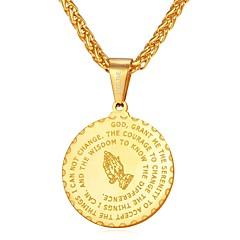 Недорогие Ожерелья-U7 1шт Нержавеющая сталь на открытом воздухе за Золотой Черный Серебряный / Муж. / Ожерелья с подвесками