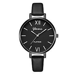 preiswerte Damenuhren-Geneva Damen Kleideruhr / Armbanduhr Chinesisch Neues Design / Armbanduhren für den Alltag / Cool Leder Band Freizeit / Modisch Schwarz