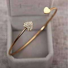 cheap Bracelets-Women's Cubic Zirconia Bracelet Bangles Cuff Bracelet - Rhinestone, Gold Plated Heart, Love Basic, Fashion Bracelet Silver / Golden For Wedding Party Birthday