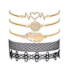 preiswerte Armbänder-Damen Stilvoll Ketten- & Glieder-Armbänder - Spitze Blattform, Kreativ Süß, Modisch, Elegant Armbänder Gold Für Geschenk / Geburtstag / 5 Stück