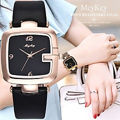 preiswerte Damenuhren-Damen Armbanduhr Chinesisch Chronograph / Armbanduhren für den Alltag / lieblich Leder Band Armreif / Elegant Schwarz / Weiß / Rot / Ein Jahr