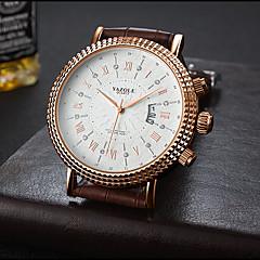preiswerte Herrenuhren-YAZOLE Herrn Armbanduhr Kalender / Armbanduhren für den Alltag / Cool PU Band Luxus / Freizeit Schwarz / Braun